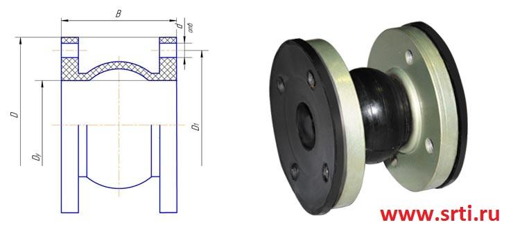 Компенсатор резиновый фланцевый Ду 32, Ру 10-16 кг/см2